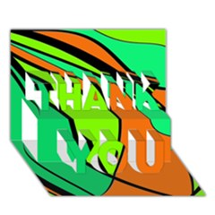 Green and orange THANK YOU 3D Greeting Card (7x5)