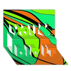 Green And Orange You Did It 3d Greeting Card (7x5)