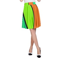 Green and orange A-Line Skirt