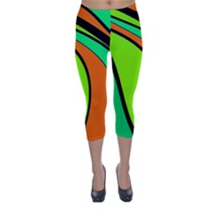 Green and orange Capri Winter Leggings