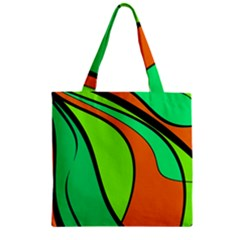 Green and orange Zipper Grocery Tote Bag