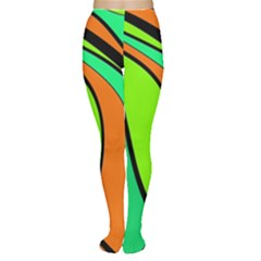 Green and orange Women s Tights