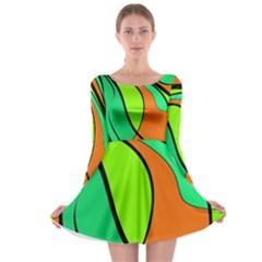 Green and orange Long Sleeve Skater Dress