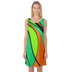 Green and orange Sleeveless Satin Nightdress