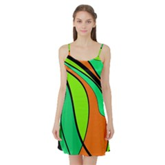 Green and orange Satin Night Slip