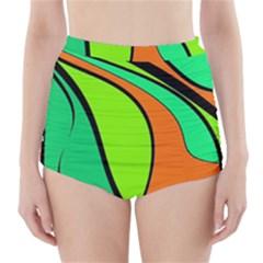 Green And Orange High Waisted Bikini Bottoms
