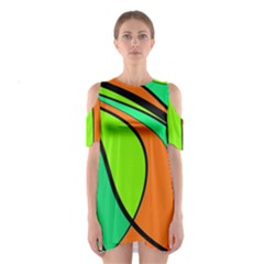 Green and orange Cutout Shoulder Dress