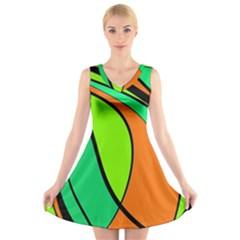 Green and orange V-Neck Sleeveless Skater Dress