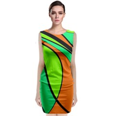 Green And Orange Classic Sleeveless Midi Dress
