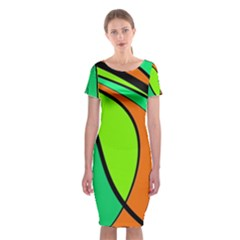 Green And Orange Classic Short Sleeve Midi Dress