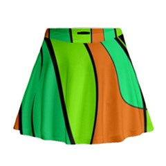 Green And Orange Mini Flare Skirt