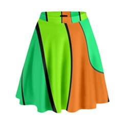Green And Orange High Waist Skirt