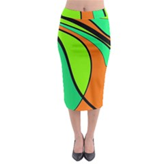 Green And Orange Midi Pencil Skirt