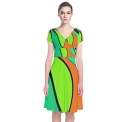 Green And Orange Short Sleeve Front Wrap Dress