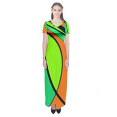 Green And Orange Short Sleeve Maxi Dress