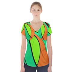 Green And Orange Short Sleeve Front Detail Top