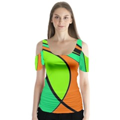Green And Orange Butterfly Sleeve Cutout Tee