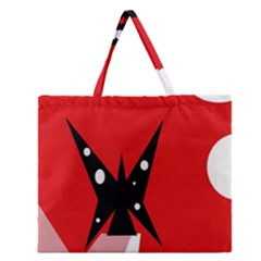 Black butterfly  Zipper Large Tote Bag