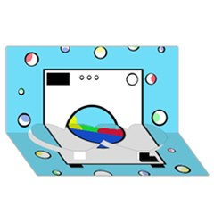 Washing machine  Twin Heart Bottom 3D Greeting Card (8x4)