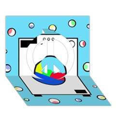 Washing machine  Peace Sign 3D Greeting Card (7x5)