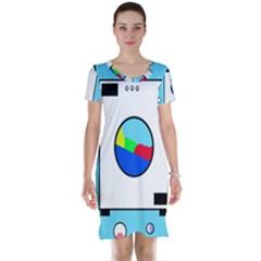 Washing machine  Short Sleeve Nightdress