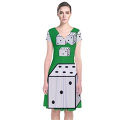 Dice  Short Sleeve Front Wrap Dress
