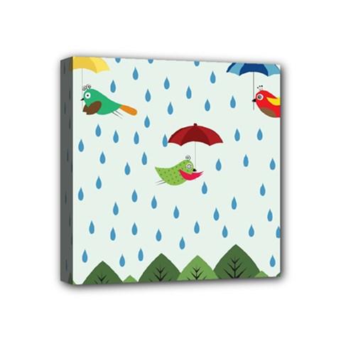 Birds in the rain Mini Canvas 4  x 4