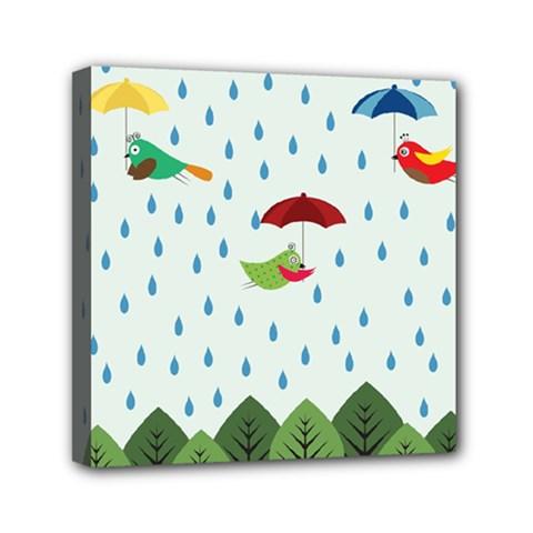 Birds in the rain Mini Canvas 6  x 6