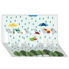 Birds in the rain MOM 3D Greeting Card (8x4)
