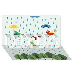 Birds in the rain BEST BRO 3D Greeting Card (8x4)