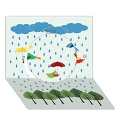 Birds in the rain Circle 3D Greeting Card (7x5)