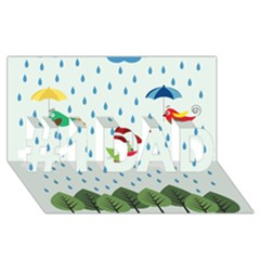 Birds in the rain #1 DAD 3D Greeting Card (8x4)