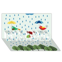 Birds In The Rain Engaged 3d Greeting Card (8x4)