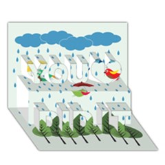 Birds in the rain You Did It 3D Greeting Card (7x5)