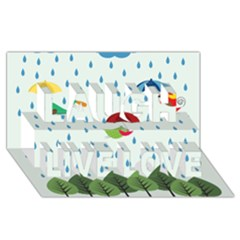 Birds in the rain Laugh Live Love 3D Greeting Card (8x4)
