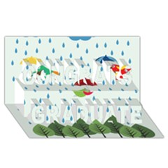 Birds in the rain Congrats Graduate 3D Greeting Card (8x4)