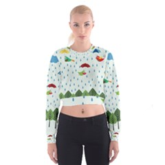 Birds In The Rain Women s Cropped Sweatshirt