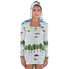 Birds In The Rain Women s Long Sleeve Hooded T Shirt