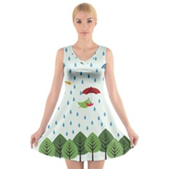 Birds in the rain V-Neck Sleeveless Skater Dress