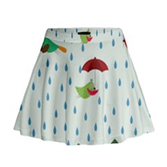 Birds in the rain Mini Flare Skirt