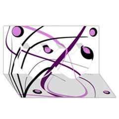 Pink elegant design Twin Hearts 3D Greeting Card (8x4)