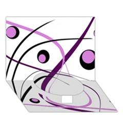 Pink elegant design Circle Bottom 3D Greeting Card (7x5)