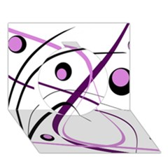 Pink elegant design Circle 3D Greeting Card (7x5)