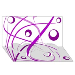 Purple elegant design Twin Heart Bottom 3D Greeting Card (8x4)