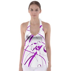 Purple elegant design Babydoll Tankini Top