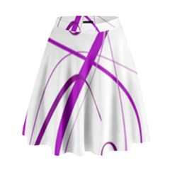 Purple Elegant Design High Waist Skirt