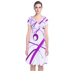 Purple Elegant Design Short Sleeve Front Wrap Dress