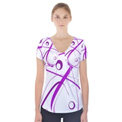 Purple Elegant Design Short Sleeve Front Detail Top
