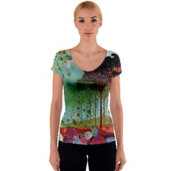 Imageedit 345 2043022904 Women s V-Neck Cap Sleeve Top