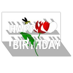 Red tulip and bee Happy Birthday 3D Greeting Card (8x4)